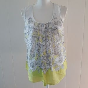 GH Bass Button Down Tank Top L Green White Floral